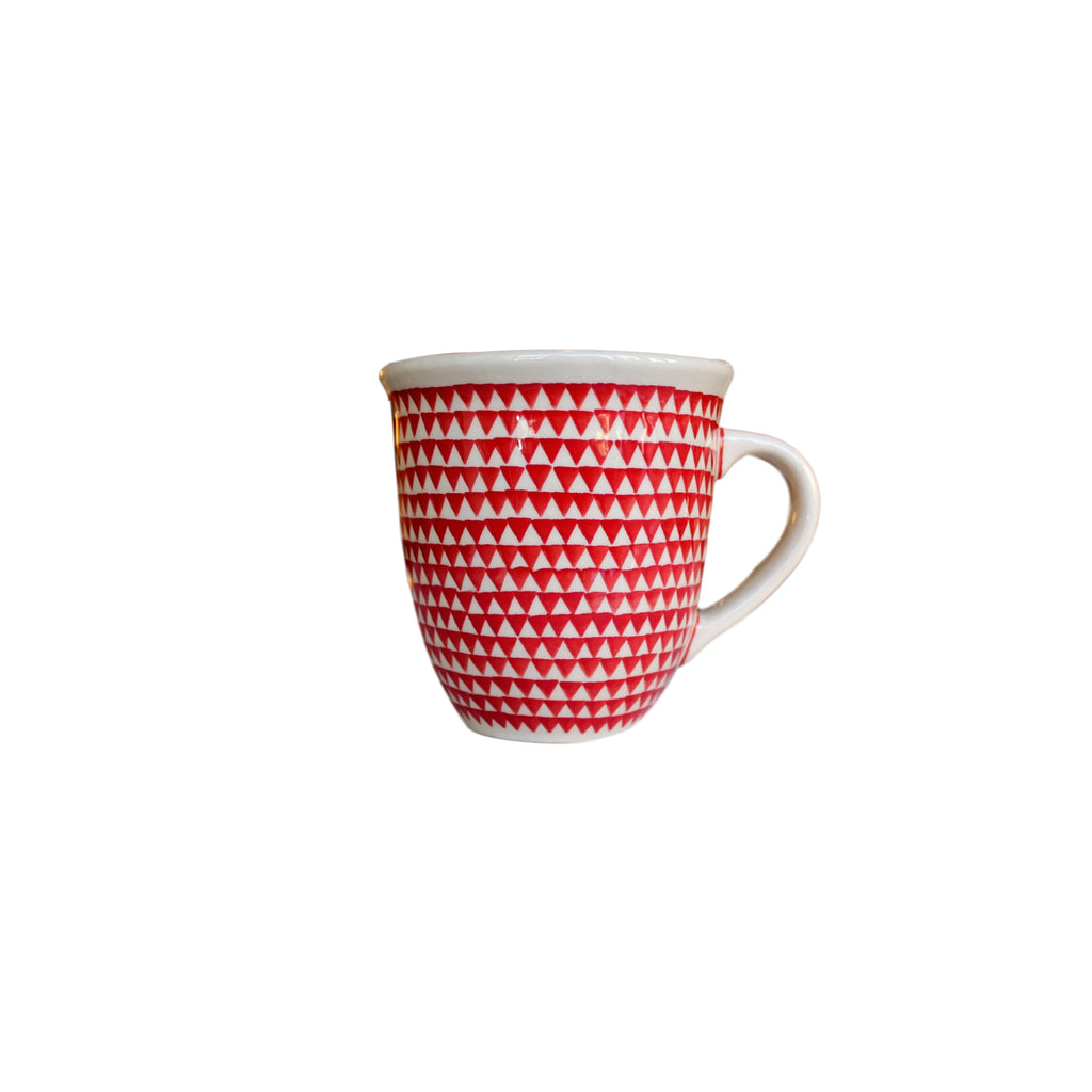 Triangles Red - Big Cup  Polish Ceramics - PasParTou