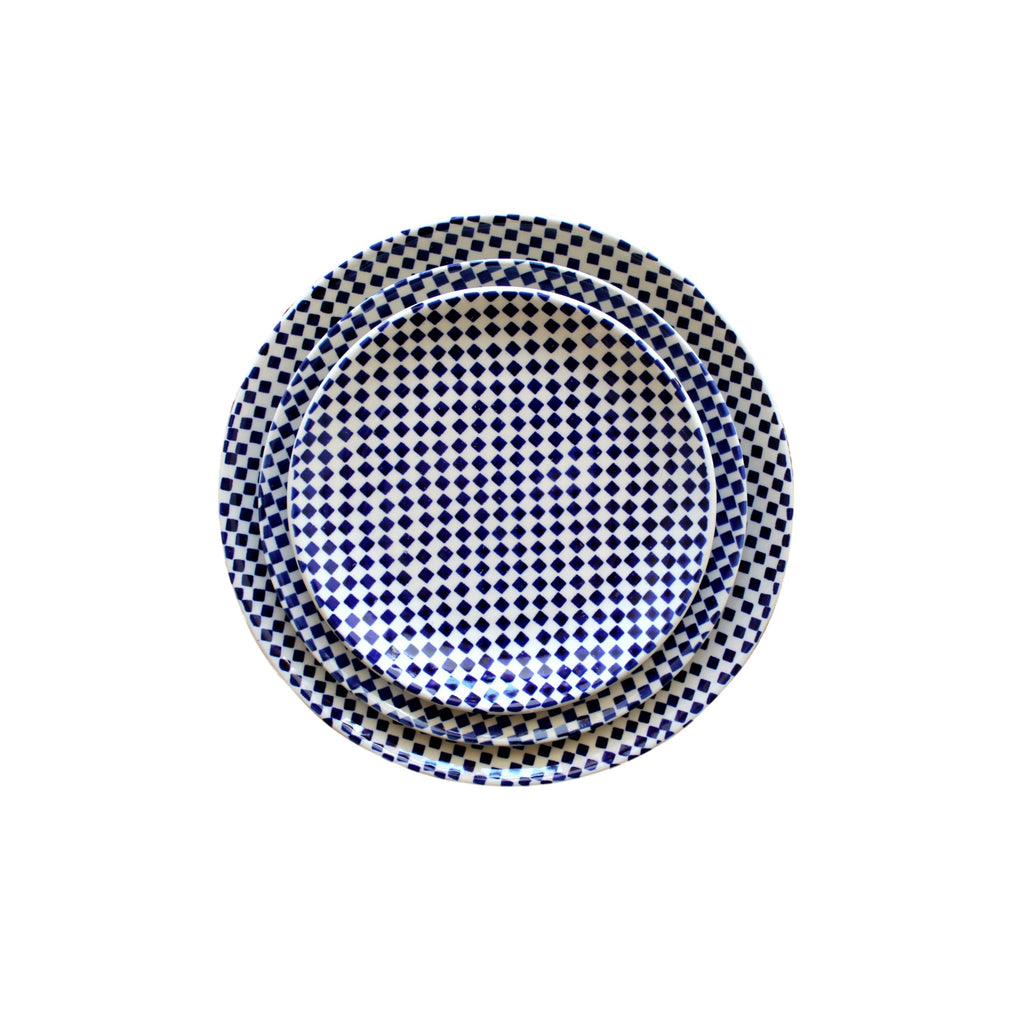 Checkerboard - Large serving Plate Dinner Plate and Salad Plate - Pas-Par-Tou