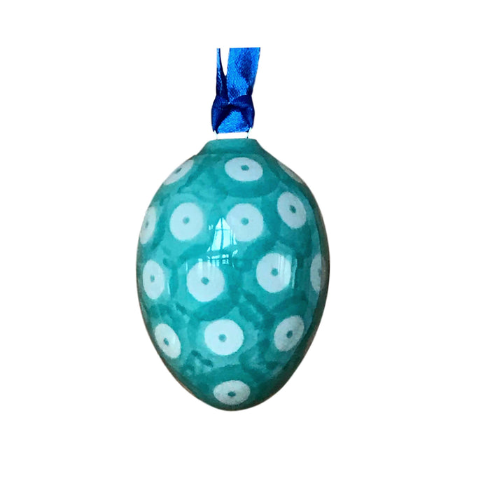 Ornament - Polish Pottery - Egg - Teal Dots in Dots  Christmas Ornaments - PasParTou