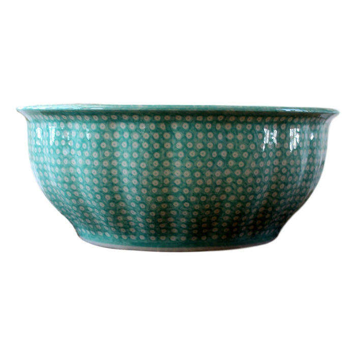 Dotty for Dots Mint - Large Fluted Serving Bowl  Polish Ceramics - PasParTou