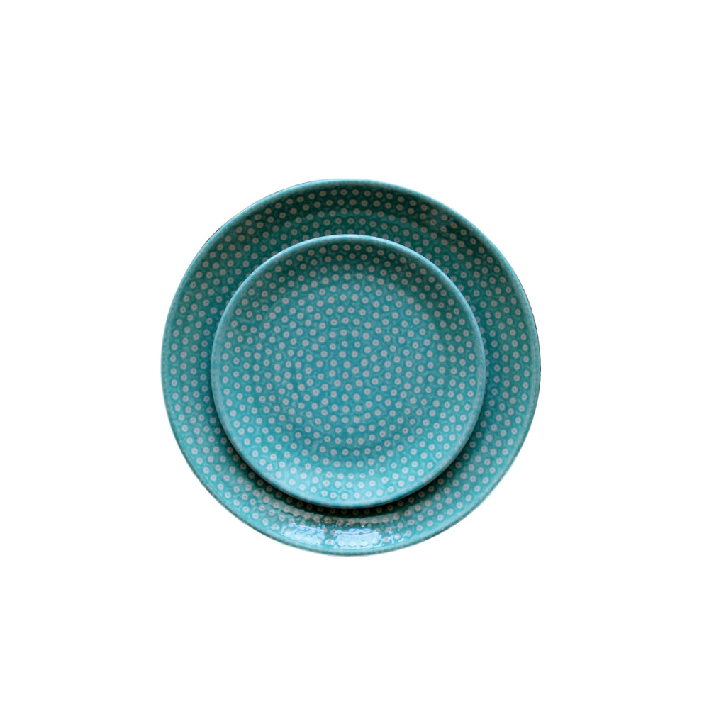Dotty for Dots Mint - Set of Dinner Salad and Dessert Plates -Pas-Par-Tou