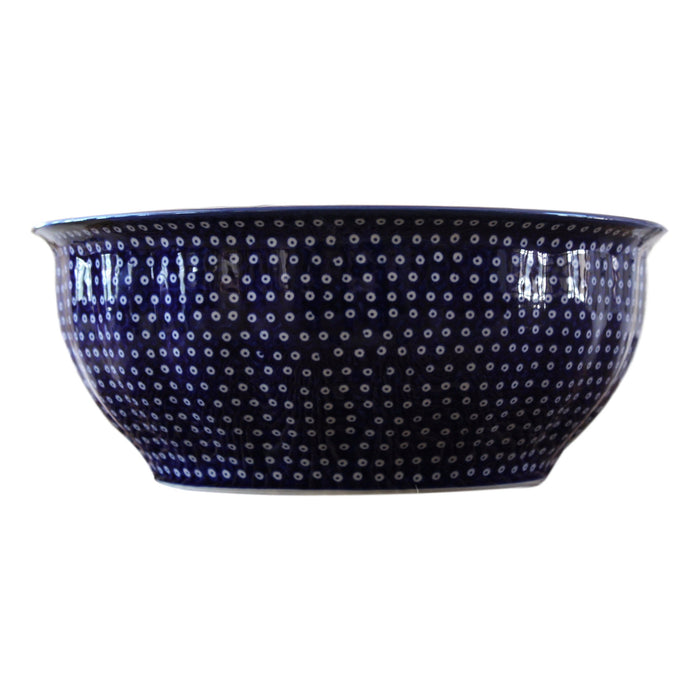 Dotty for Dots Navy - Large Fluted Serving Bowl  Polish Ceramics - PasParTou