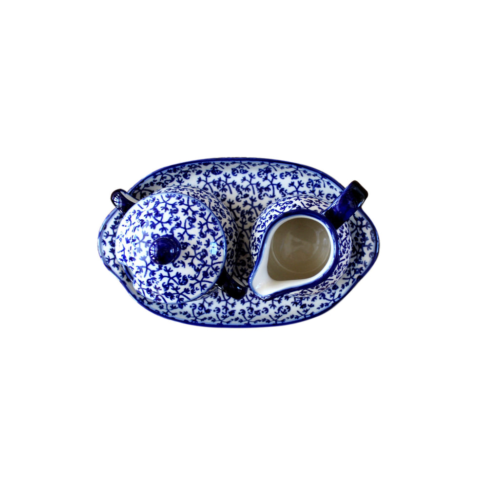 Blue Fern - Sugar Bowl and Creamer  Polish Ceramics - PasParTou