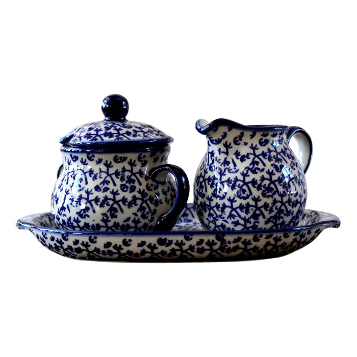 Blue Blue Fern - Sugar Bowl and Creamer - Pas-Par-Tou