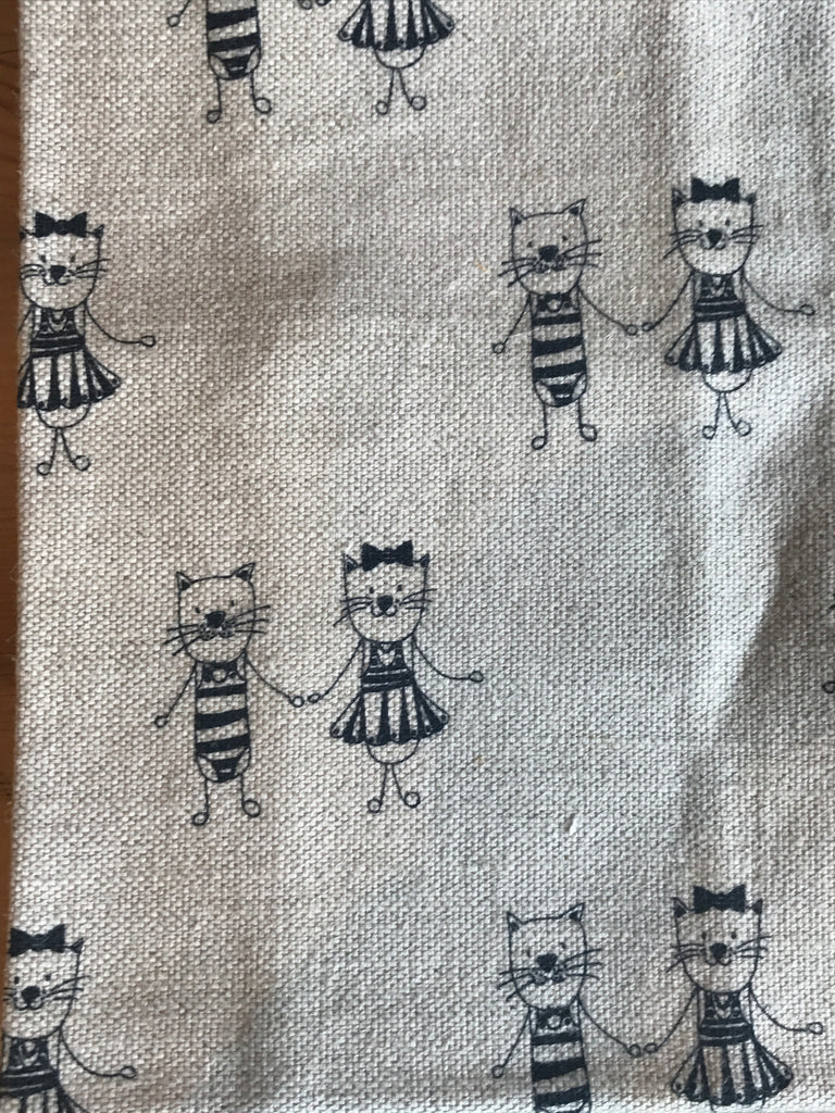 Teatowel Natural Linen/Cotton with Kitty Friends