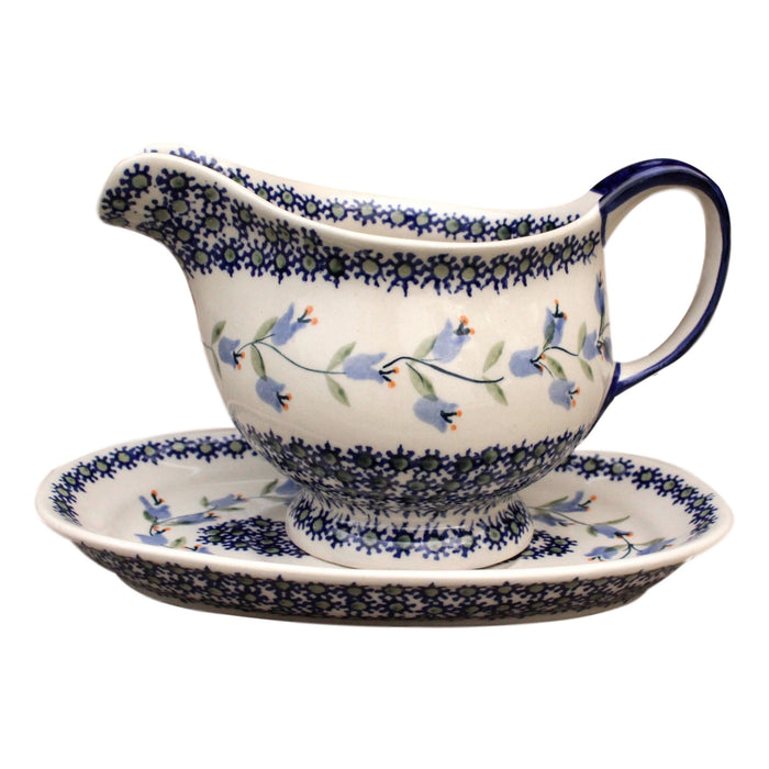 Bluebells- Gravy Jug with Saucer  Polish Ceramics - PasParTou