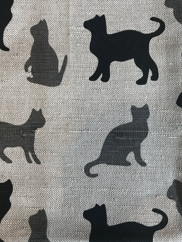 Teatowel Natural Linen/Cotton with Grey and Black Cats in Various Poses Pattern