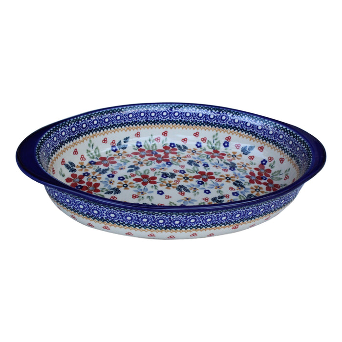 Harvest Floral - Medium Oval Baker  Polish Ceramics - PasParTou