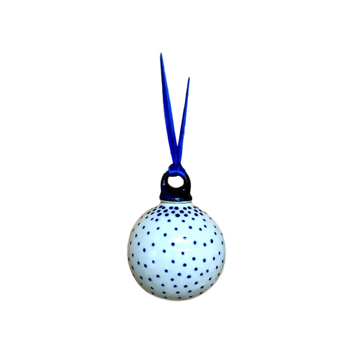 Ornament - Polish Pottery - Tiny Blue Dots
