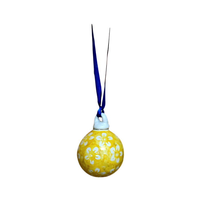 Ornament - Polish Pottery - Yellow Flowers