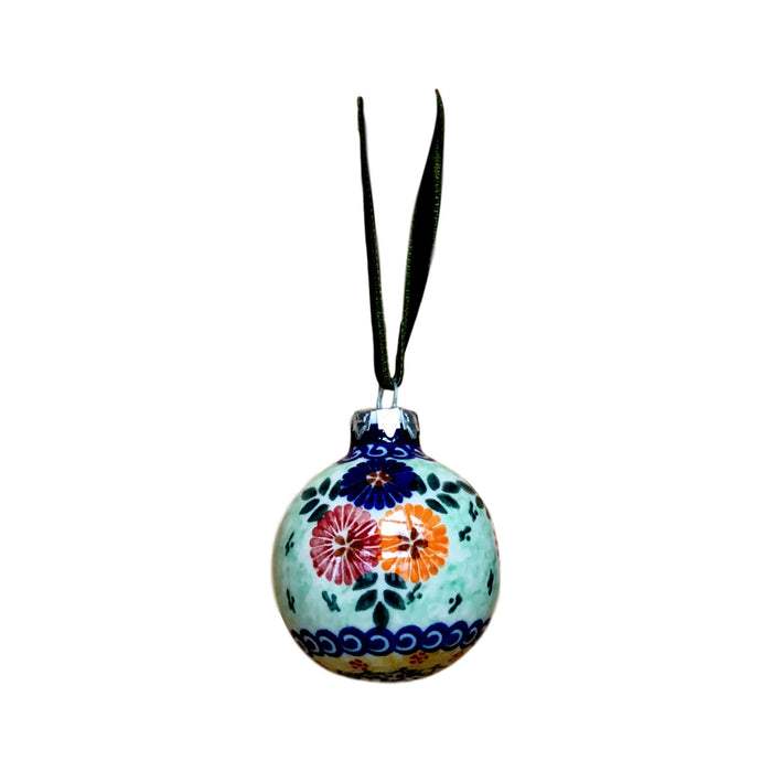 Ornament - Polish Pottery - Blue Red and Orange Flowers