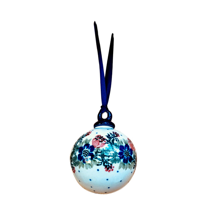 Ornament - Polish Pottery - Blue and Red Flowers