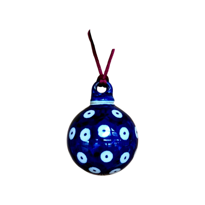 Ornament - Polish Pottery - Blue Dots in Dots  Christmas Ornaments - PasParTou