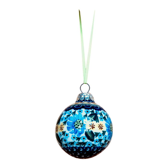 Ornament - Polish Pottery - Light Blue Flowers and Stars