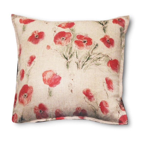 Pillow Off White Soft Washed Linen with Poppy Print 20 x 20  Pillows - PasParTou