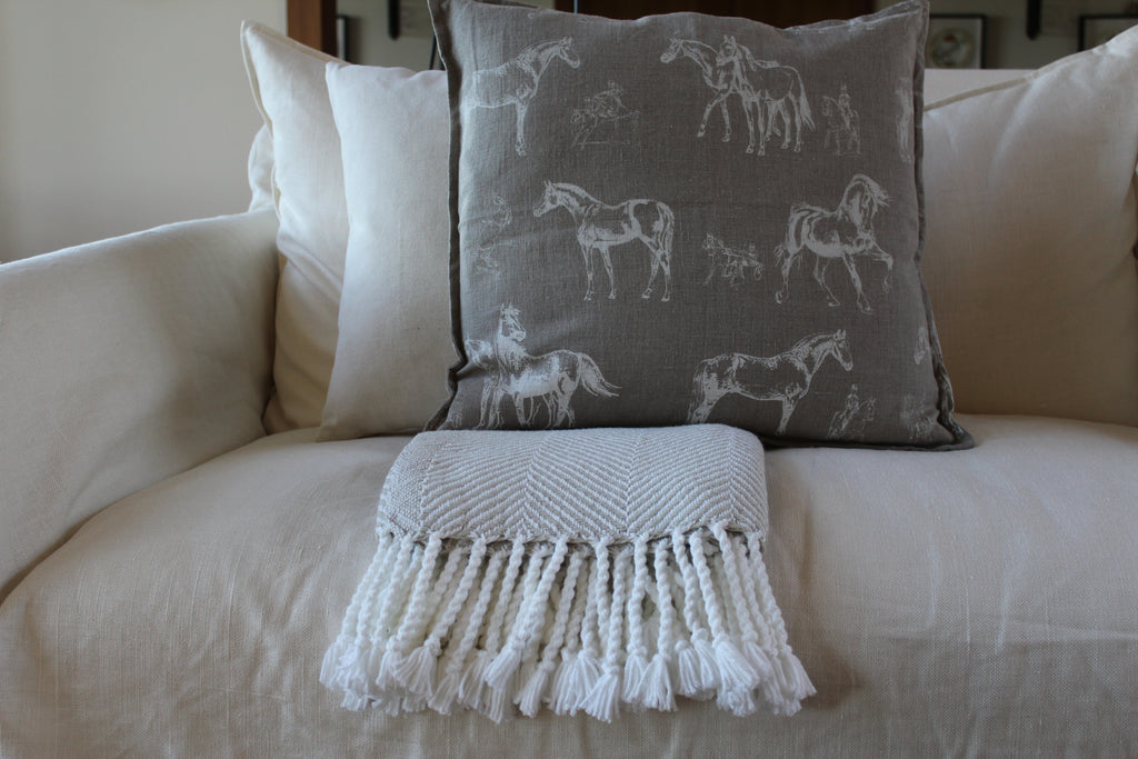 Pillow Natural Soft Washed Linen with White Horses Print 16 x 16  Pillows - PasParTou
