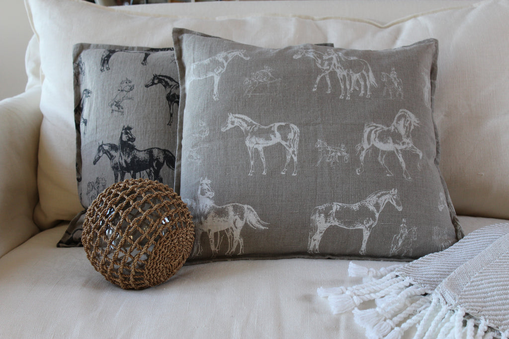 Pillow Natural Soft Washed Linen with White Horses Print 20 x 20  Pillows - PasParTou