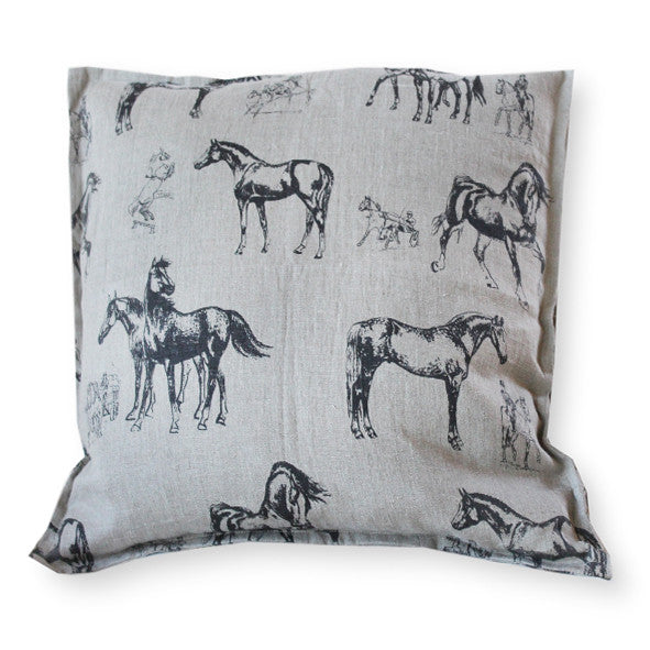 Pillow Natural Soft Washed Linen with Black Horses Print - PasParTou
