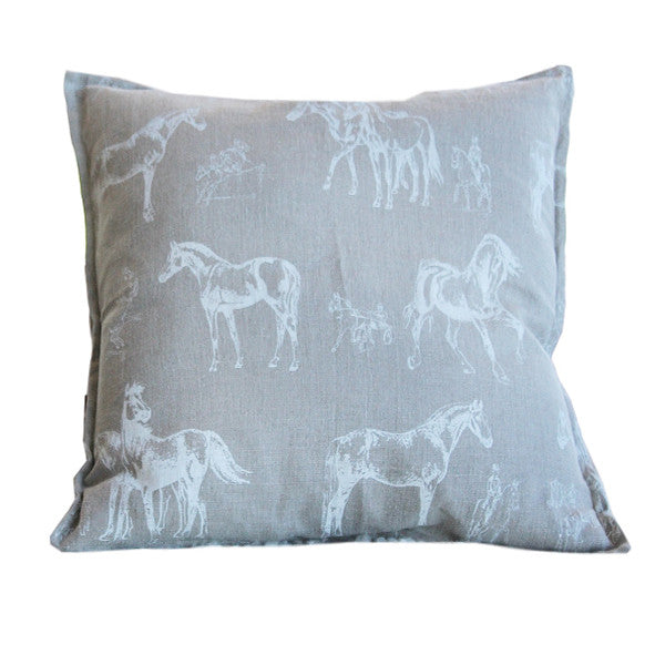 Pillow Natural Soft Washed Linen with White Horses Print - PasParTou