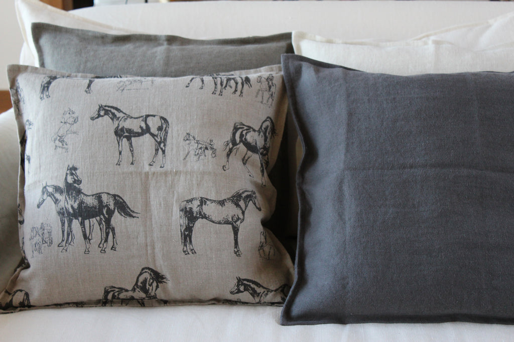 Pillow Natural Soft Washed Linen with Black Horses Print 16 x 16  Pillows - PasParTou