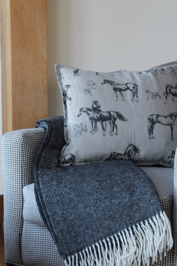 Pillow Natural Soft Washed Linen with Black Horses Print 20 x 20