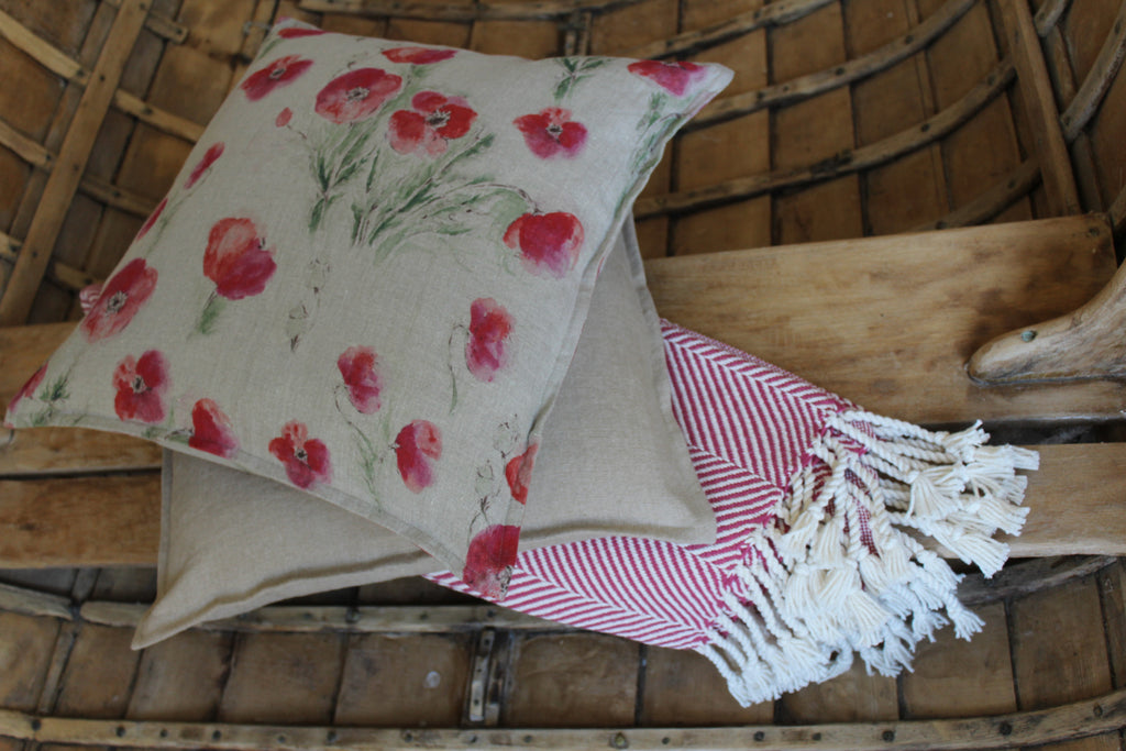 Pillow Off White Soft Washed Linen with Poppy Print 16x16  Pillows - PasParTou