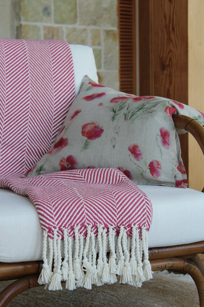 Pillow Off White Soft Washed Linen with Poppy Print 20 x 20