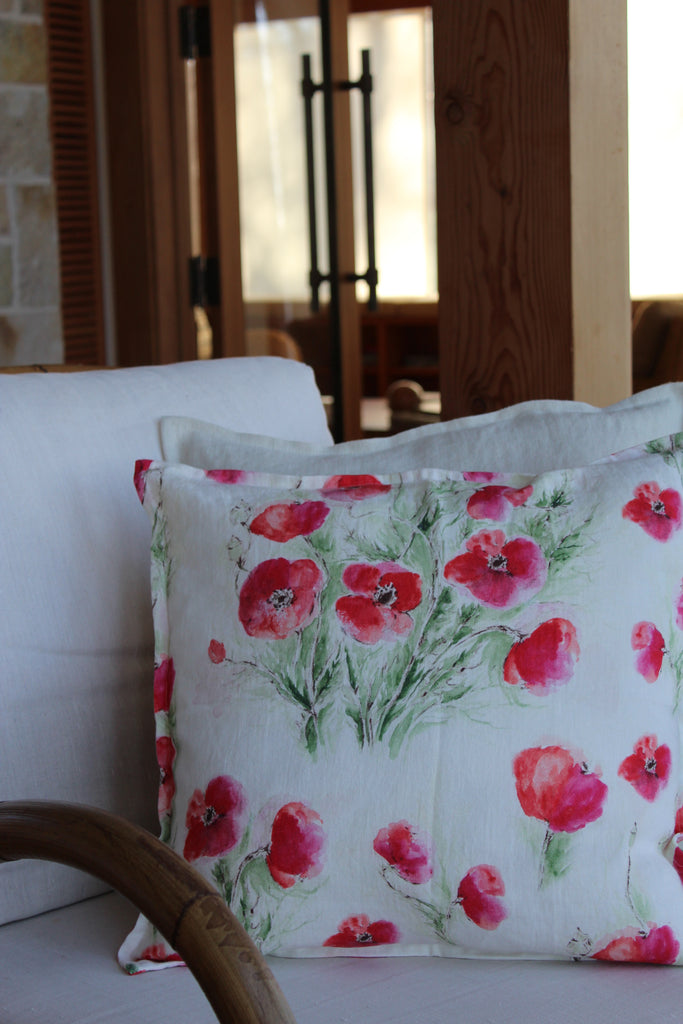 Pillow Natural Soft Washed Linen with Poppy Print 20 x 20  Pillows - PasParTou