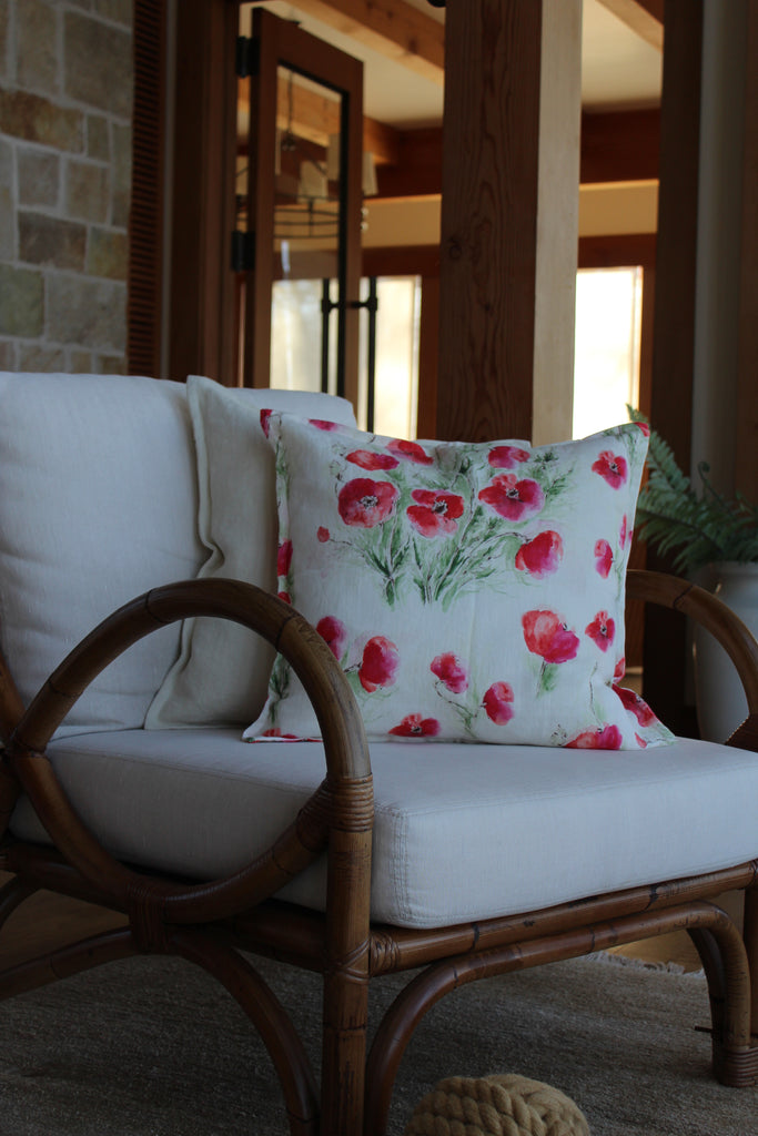 Pillow Natural Soft Washed Linen with Poppy Print 16x16  Pillows - PasParTou