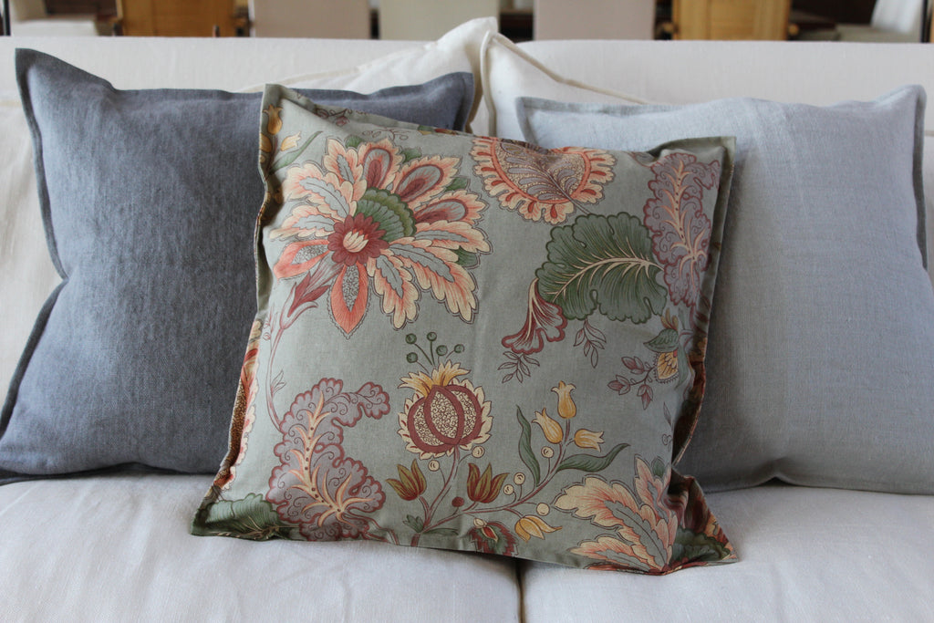 Pillow Green Floral Cotton 20 x 20  Pillows - PasParTou