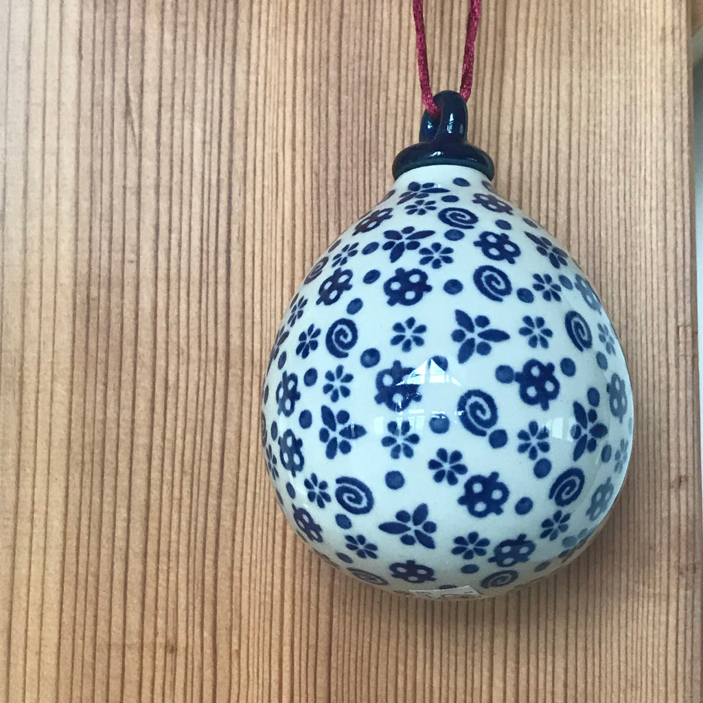 Ornament - Polish Pottery - White with Swirls  Christmas Ornaments - PasParTou