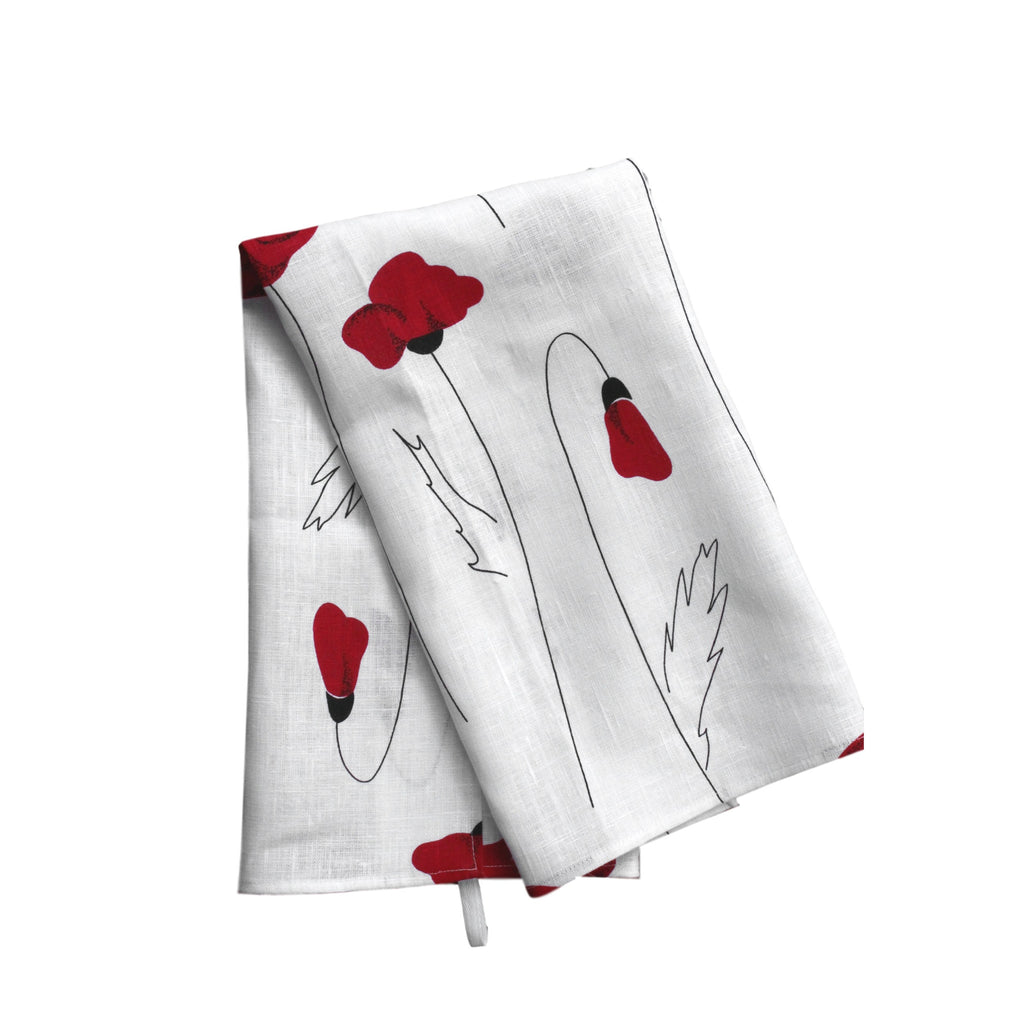 Teatowel White Linen with Poppies - PasParTou