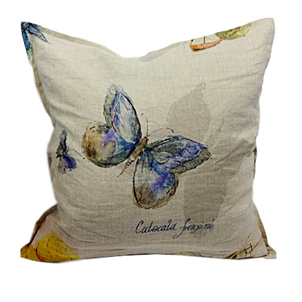Pillow Natural Soft Washed Linen with Butterfly Print 16 x 16  Pillows - PasParTou