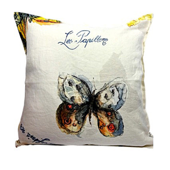 Pillow Off White Soft Washed Linen with Butterfly Print 16 x 16  Pillows - PasParTou