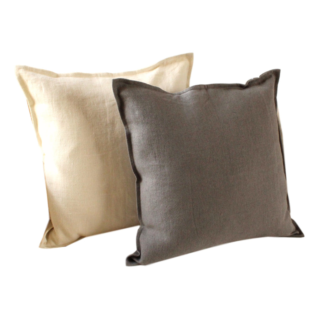 Pillow Soft Washed Linen Off White 20 x 20  Pillows - PasParTou
