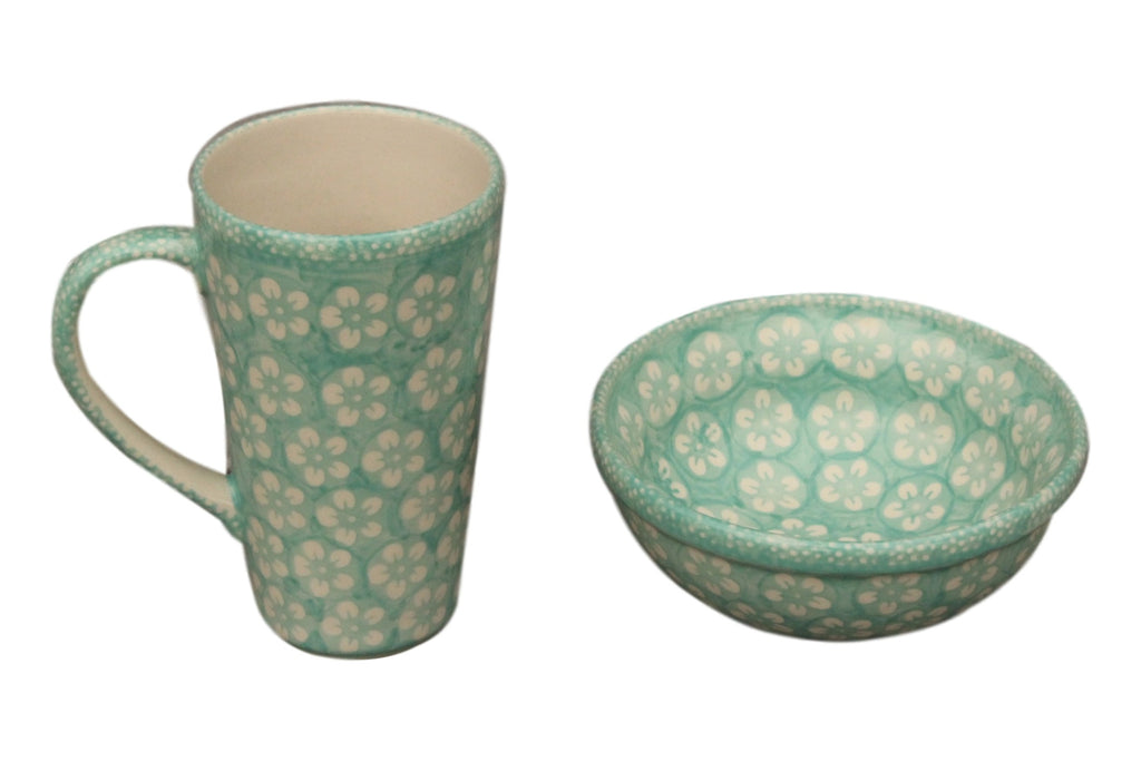 Mint Flowers - Tall Mug  Polish Ceramics - PasParTou