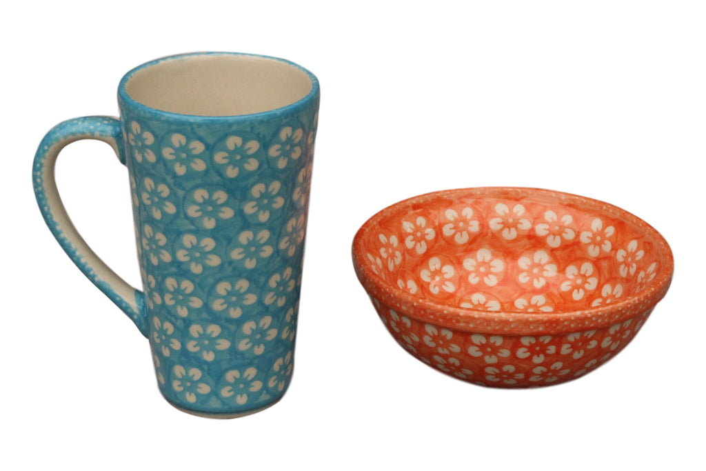 Teal Flowers - Tall Mug  Polish Ceramics - PasParTou