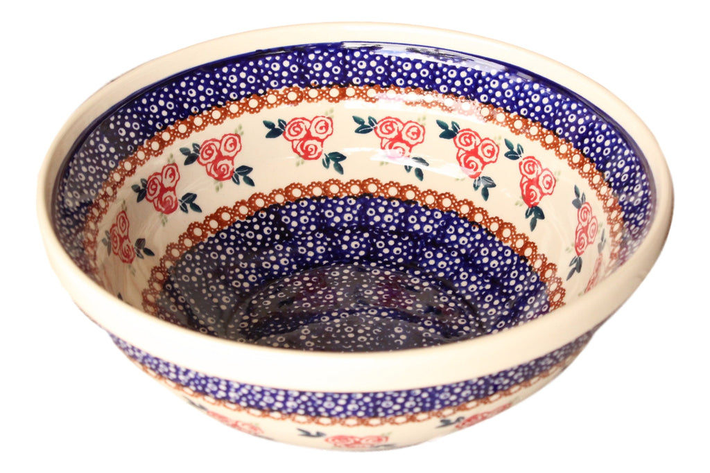 Red Rose - Small Serving Bowl  Polish Ceramics - PasParTou