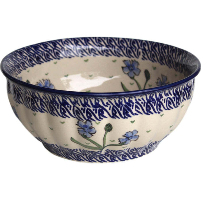 Blue Dahlia - Medium Fluted Serving Bowl  Polish Ceramics - PasParTou