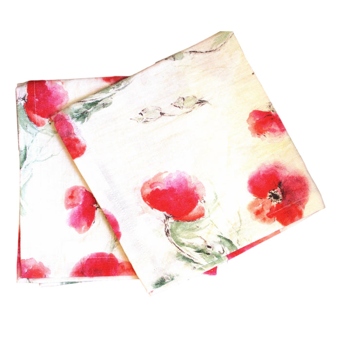 Napkins-Softwashed Linen- Off WhitePoppies
