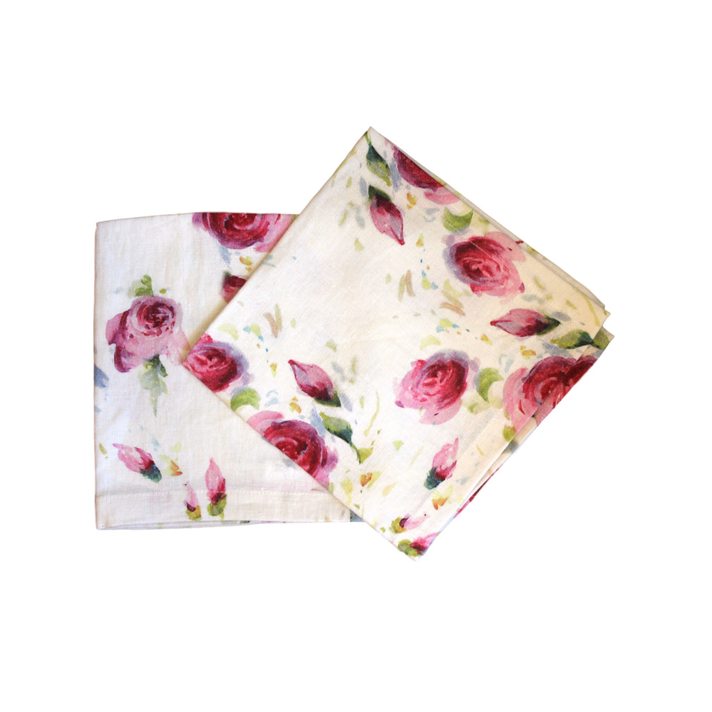 Napkins-Softwashed Linen-Off White Roses