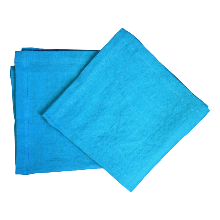 Napkins - Teal Softwashed Linen  napkins - PasParTou