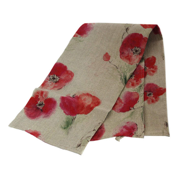 Teatowel Natural Soft Washed Linen with Poppy Print