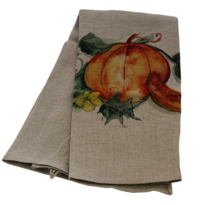Teatowel Natural Soft Washed Linen with Pumpkin Print