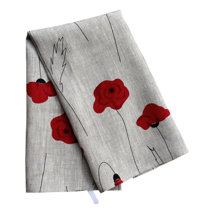 Teatowel Natural Linen with Poppies