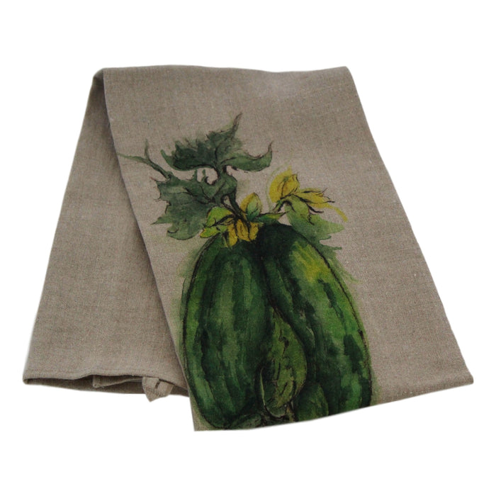 Teatowel Natural Soft Washed Linen with Squash Print