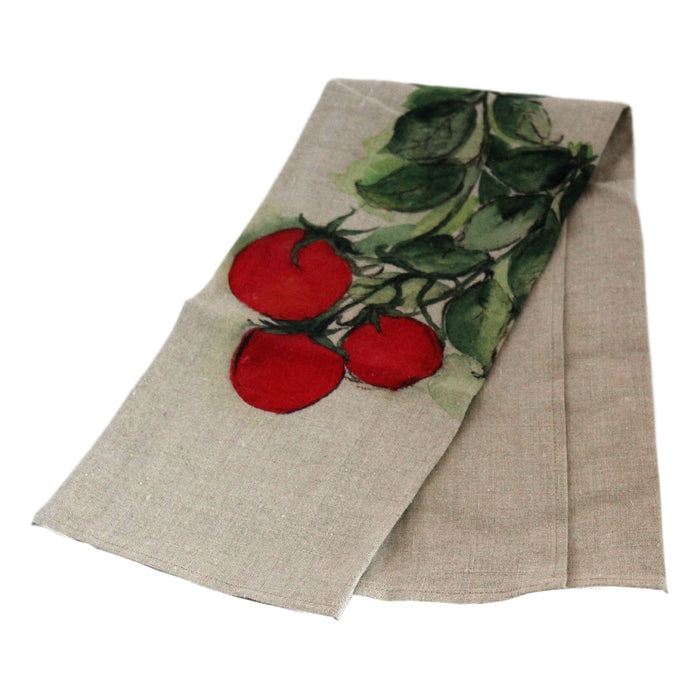Teatowel Natural Soft Washed Linen with Tomato Print