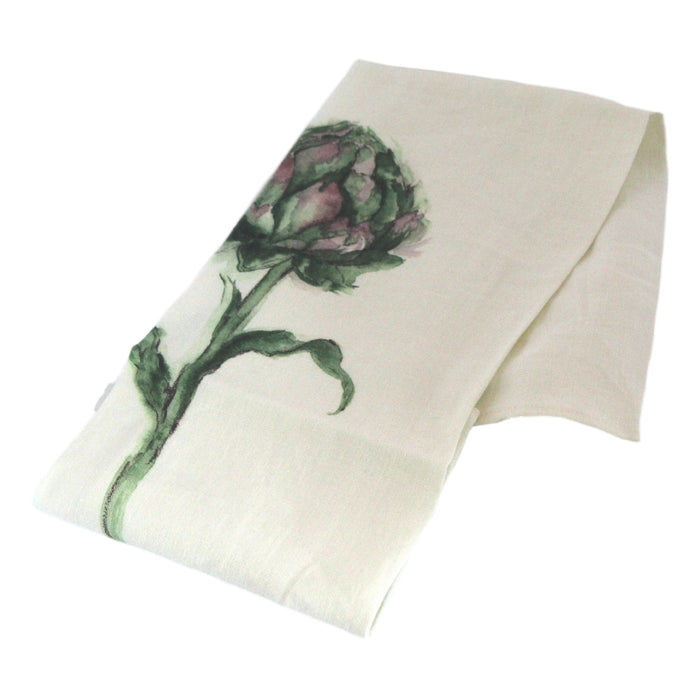 Teatowel Off White Soft Washed Linen with Artichoke Print