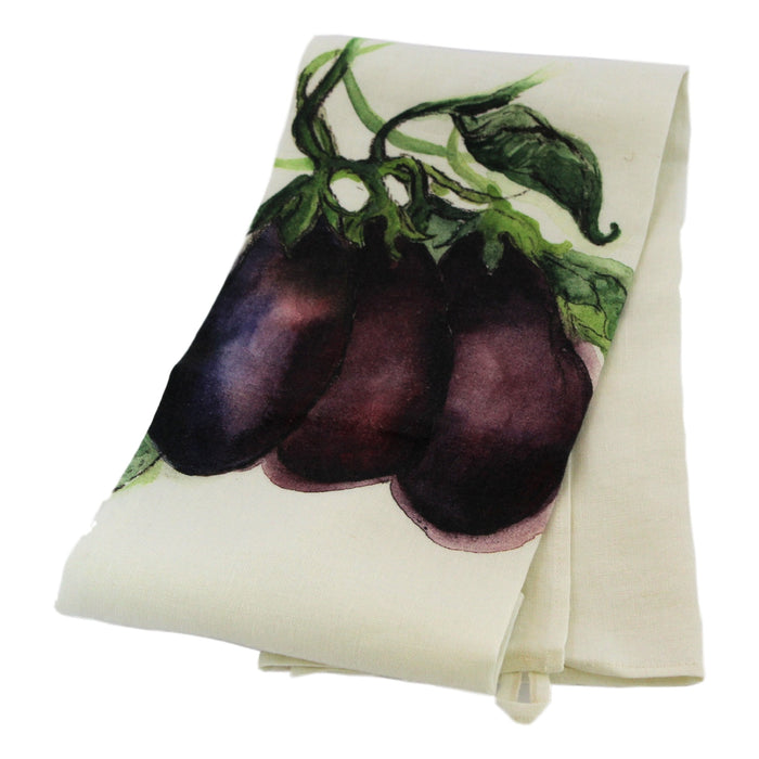 Teatowel Off White Soft Washed Linen with Eggplant Print