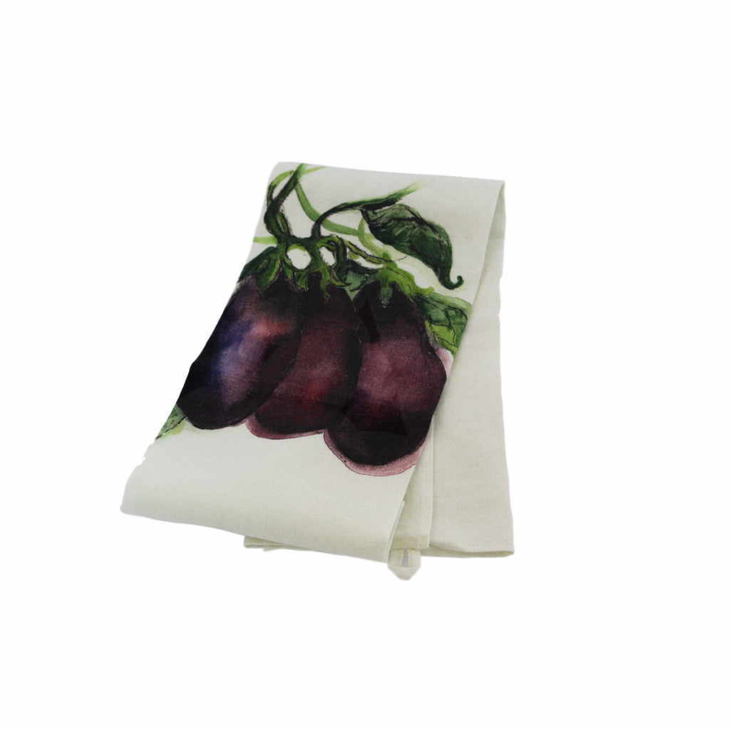 Teatowel Off White Soft Washed Linen with Eggplant Print - PasParTou